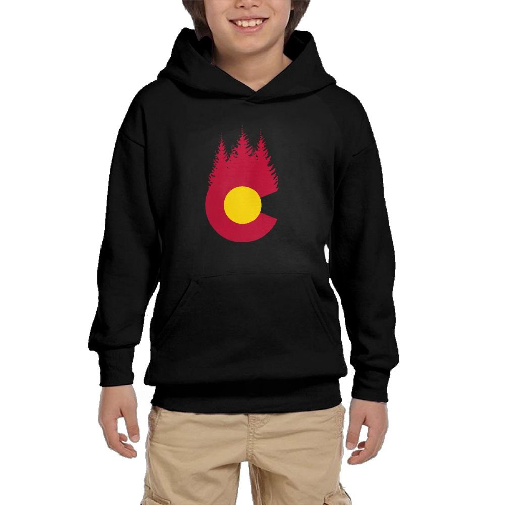 Hapli Youth Black Hoodie Colorado Forest Hoody Pullover Sweatshirt Pocket Pullover For Girls Boys L by Hapli