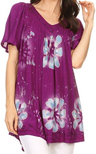 Sakkas S482417HS - Poppy Floral Hand Dyed Dye Pattern Top (Beaded V-neck Top)