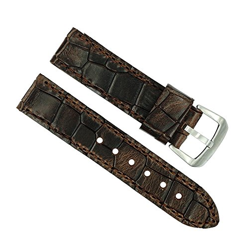 22mm Genuine Oil-Tan Brown Leather Heavy Pad Watch Strap ()