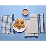 100% Soft Cotton White Kitchen Towel Dish Tea Cloth Napkins (70 x 50 cm) Set of 3 Absorbent Machine Washable Kitchen Basic Everyday Use by Store Indya