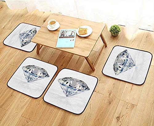 Jiahonghome Simple Modern Chair Cushions Picture of Diamond,Beautiful Sparkling Shining Round Shape Emerald Image Reusable Water wash W27.5 x L27.5/4PCS Set