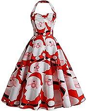 DonLeeving Women Christmas Dresses V Neck Print Elk Swing Dress Vintage Rockabilly Dress Santa Claus Snowman Tree