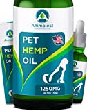 Animalest - Hemp Oil Dogs Cats - Separation Anxiety, Arthritis, Stress, Seizures, Sleep, Tension - Remedy for Chronic Pains Problems - Omega 3,6,9 Vitamins - Dog Cat Pet Herbal Supplements - 1250 Mg