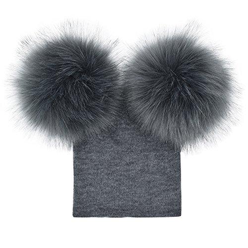 Baby Winter Warm Knit Hat Infant Toddler Pom Pom Beanie Photography Fur Ski Cap (Grey) ()