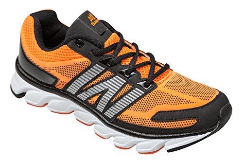 gibra® Zapatos de deporte hombre, muy ligera y cómoda, Naranja/Negro Talla 41–