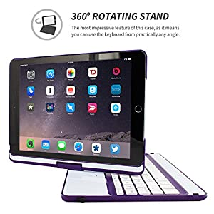iPad Air 2 Keyboard, Snugg [Purple] Wireless Bluetooth Keyboard Case Cover 360° degree Rotatable Keyboard for Apple iPad Air 2