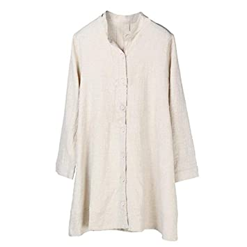 Clearance!Youngh Womens Blouses Solid Button Mandarin Collar Loose Long Sleeve cotton Casual Tunic Blouse
