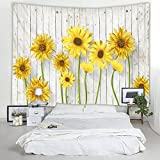 79 x 59 Inches Wooden Board Sunflower Print Decorative Throw Fabric Tapestry Wall Hanging Art Decor for Living Room and Bedroom Hanging