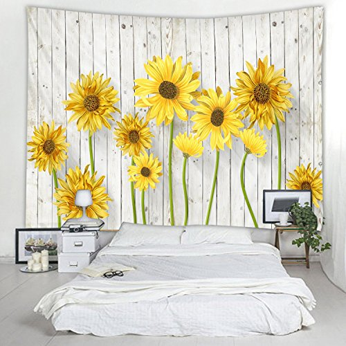 79 x 59 Inches Wooden Board Sunflower Print Decorative Throw Fabric Tapestry Wall Hanging Art Decor for Living Room and Bedroom Hanging by Red Fire