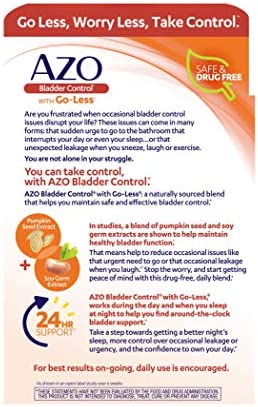 AZO Bladder Control with Go-Less Daily Supplement | Helps Reduce Occasional Urgency* | Helps reduce occasional leakage due to laughing, sneezing and exercise††† | 72 Capsules 51wn4T2OBeL