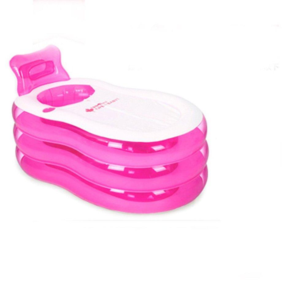Inflatable Bathtub, Portable Folding Bathtub, Swimming Pool, Family Bathtub (Color : Pink, Size : 1307070cm)
