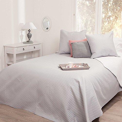 Set aus gepolsterter Tagesdecke und 2 Kissenbezügen - weich und warm - große Größe - zweifarbig (Perlgrau / Weiß)