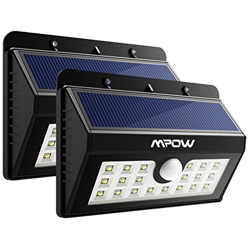 - Mpow Solar Lights Outdoor, 20 LED Bright Motion Sensor Security Wall Lights with 3 Modes, Wireless Waterproof Night Lights for Garage Driveway Front Door Garden Path Patio Deck Yard Lighting - 2 Pack