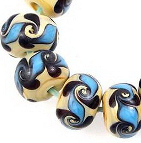 Glamorise Beads #13451 Lampwork Handmade Glass Beads Turquoise Blue Swirl Beige Rondelle 10 (Rondelle Lampwork Beads)