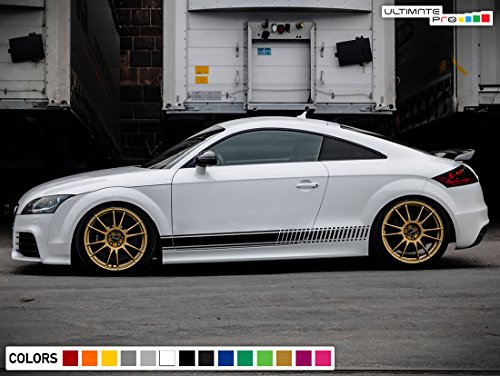 Decal Sticker Vinyl Side Racing Stripes Compatible with Audi TT RS TTS 2006-2014 (BLACK)