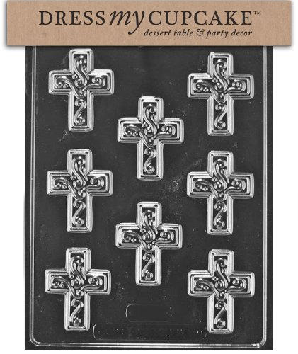 Dress My Cupcake Chocolate Candy Mold, Small Easter Cross with Swirl