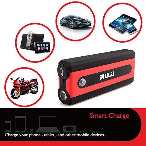 iRULU 600A Peak 13600mAh Car Emergency Jump Starter (up to 6L Gas, 4.5L Diesel Engine) Portable Laptop Power Bank Battery Booster