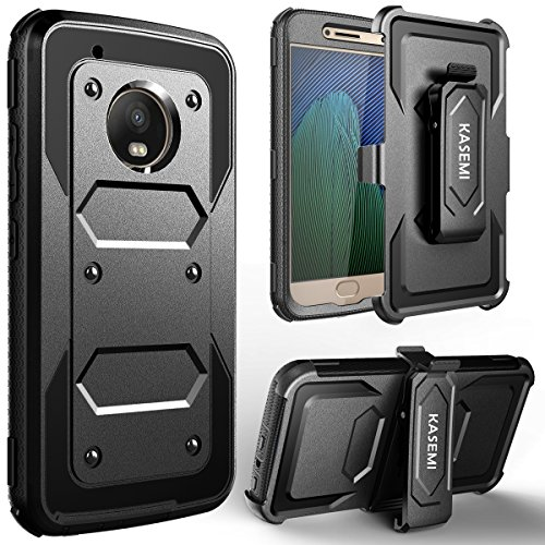 Price comparison product image Moto G5 Plus Case, KASEMI [Built in Screen Protector] Heavy Duty Dual Layer Protection Locking Belt Swivel Clip Holster with Kickstand for Motorola Moto G5 Plus((5.2 inch)-Black