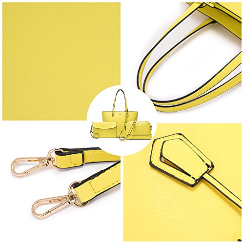 Satchel Women Yellow 3pcs Shoulder Top Bag Handle Tote Purse Set Handbags For 0FPwxx