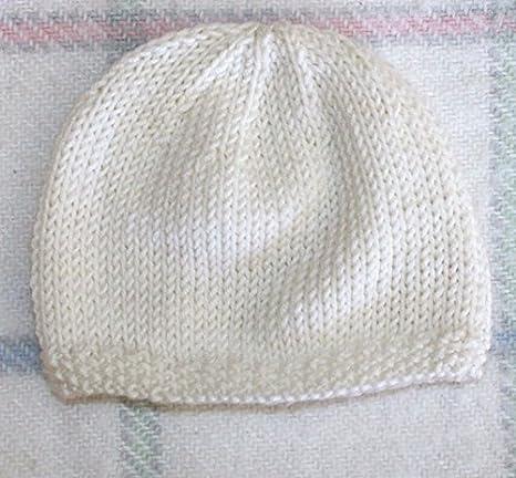 4de303315a8 Bonnet de Naissance pour Bébé en Laine Deluxe   Fait Main - Blanc Cassé (0