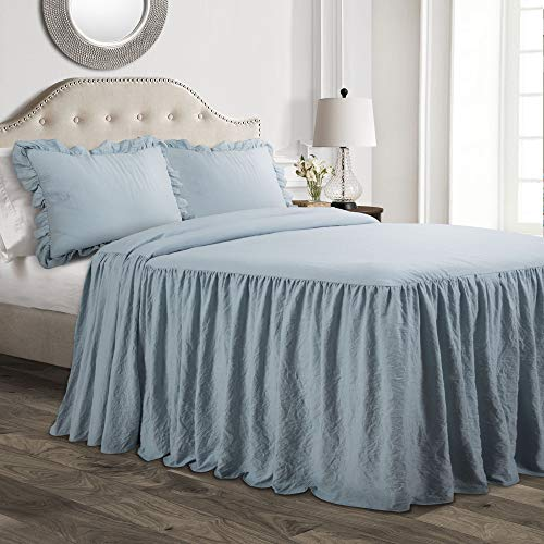 Lush Decor Lush Décor Ruffle Skirt Bedspread Lake Blue Shabby Chic Farmhouse Style Lightweight 3 Piece Set King,