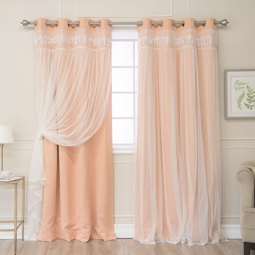 - Rose Street Indie Pink Lace 84 x 52 in. Overlay Blackout Curtains, Set of Two