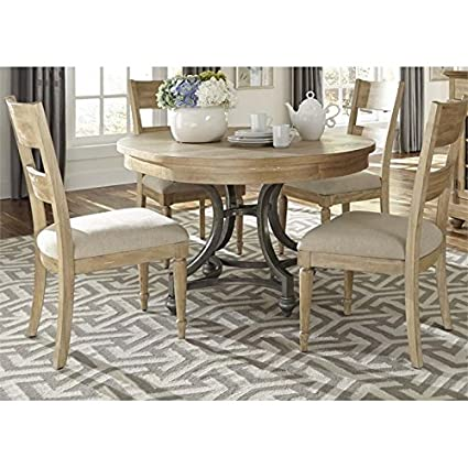 Great Liberty Furniture Harbor View Dining 5 Piece Round Table Set, Sand Finish