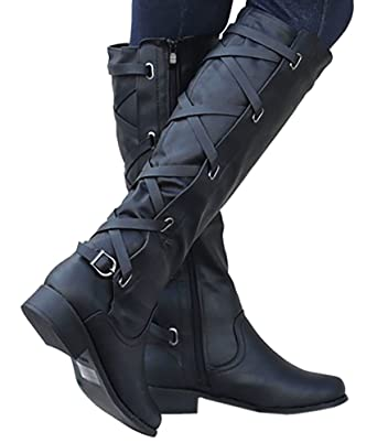 47df8b02dfb Womens Riding Boot Winter Knee High Lace Up Faux Leather Criss Cross Strap  Buckle Shoes