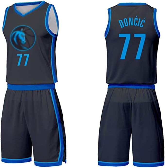VNBA Luka Doncic Camiseta de Baloncesto para niños, Mavericks 77 Camiseta de Baloncesto Chaleco Top Summer Shorts Conjunto para niños y niñas: Amazon.es: Ropa y accesorios