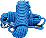 YOMEGO 10mm Outdoor Climbing Rope Nylon Heavy Duty Static Rope with 2 Safety Carabiners in 10M(32ft) 20M(64ft)