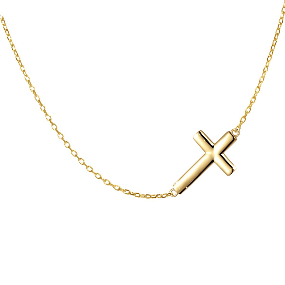S925 Sterling Silver Jewelry Sideways Cross Choker Necklace 16+2''