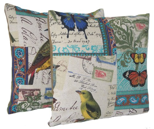 Birds & Butterflies 2 Decorative Throw Pillow Cases Turquoise Design Set of Two Cushion Covers Pattern Tokelau Islands Postcard