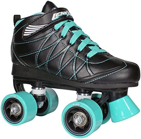 Lenexa Hoopla Kids Roller Skates for Kids Children – Girls and Boys – Kids Rollerskates – Childrens Quad Derby Roller Skate for Youths Boy Girl – Kids Skates Black w Blue Wheels