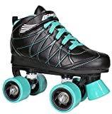 Roller Skates for Girls and Boys | Lenexa Hoopla Kids Quad Roller Skates for Indoor or Outdoor skating | Comfortable Fit | Made to Last - (Black with Teal wheels, Size 5)