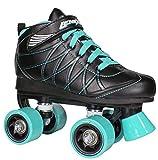 Lenexa Hoopla Youth Boys Roller Skates for Kids Children - Girls and Boys - Kids Rollerskates - Childrens Quad Derby Roller Skate for Youths Boy/Girl - Kids Skates (Black with Teal wheels Size 4)