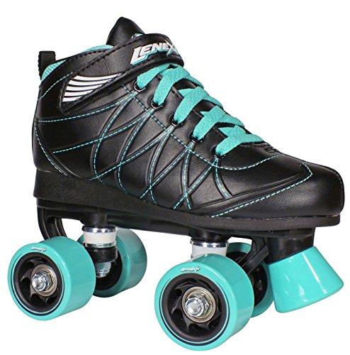 Lenexa Hoopla Kids Roller Skates for Kids Children – Girls and Boys – Kids Rollerskates – Childrens Quad Derby Roller Skate for Youths Boy Girl – Kids Skates Black w Blue Wheels