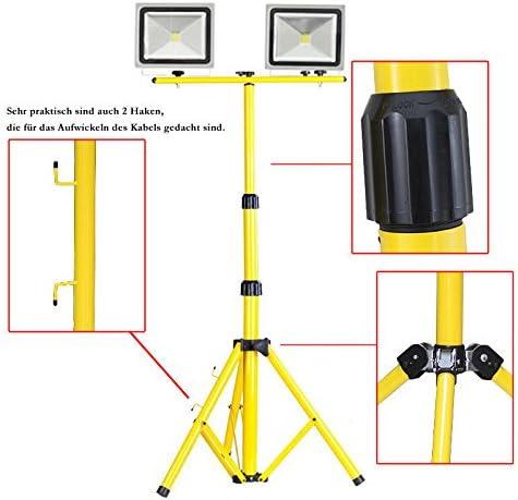 OUKANING Teleskop Stativ gelb LED Halogen 58-160cm St/änder f/ür 2 Halogenstrahler Ledstrahler Verst/ärkte Beine Gelb