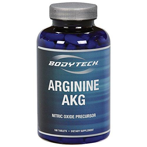 BodyTech Arginine AKG (Arginine Alpha Ketoglutarate) 3000 MG Nitric Oxide Precursor, 60 Servings (180 Tablets)