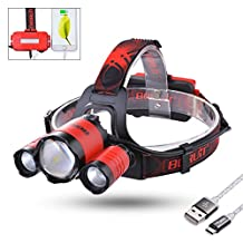 Sunix Leo 22 2200 lumen Zoomable LED Headlamp with Red Lights-As 4400mAh Power Bank - 4 Lightging Modes with SOS Whistle Perfect for Running, Walking, Camping, Reading, Hiking, + 2 PCS 18650 Rechargeable Batteries + Micro USB Cable Included (Red)