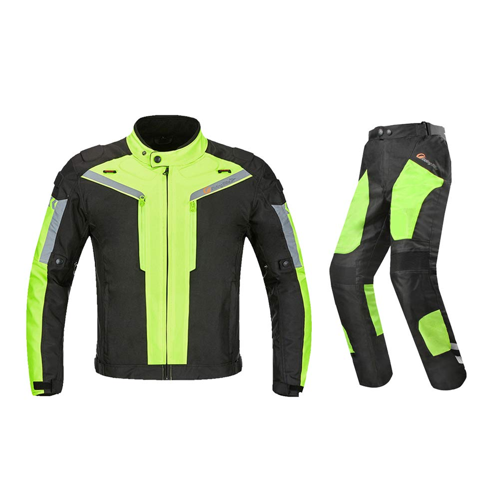 Motorcycle Jacket Pant 2 Pieces Suit CE Approved Protection Waterproof Breathable Reflective Wear-Resistant Adjustable for Man, Woman, Riding Motorcycles, Cross Country, Racing,Green,M