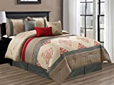 7-Pc Royal Damask Floral Geometric Embroidery Pleated Comforter Set Red Antique Beige Gray Taupe King