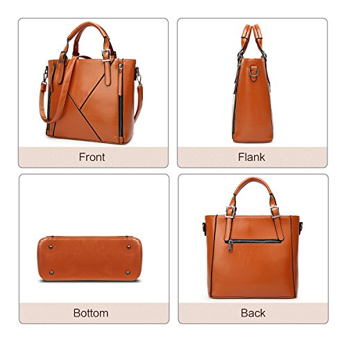 brown Handbags Bag Shoulder Bag Fashion Leather Handle for Ladies Tote ZZSY Oil Top Designer Women Wax C qaBfxEAx
