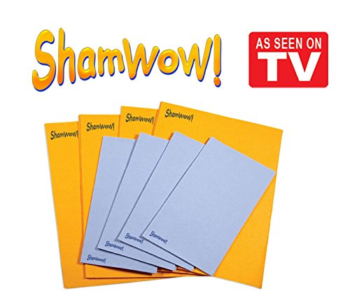 The Original Shamwow - Super Absorbent Multi-purpose Cleaning Shammy (Chamois) Towel Cloth, Machine Washable, Will Not Scratch (8 Pack: 4 Large Orange and 4 Small ()