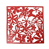 Doober 4 Pcs Butterfly Flower Hanging Screen Curtain Room Divider Partition Wall Home (Red)