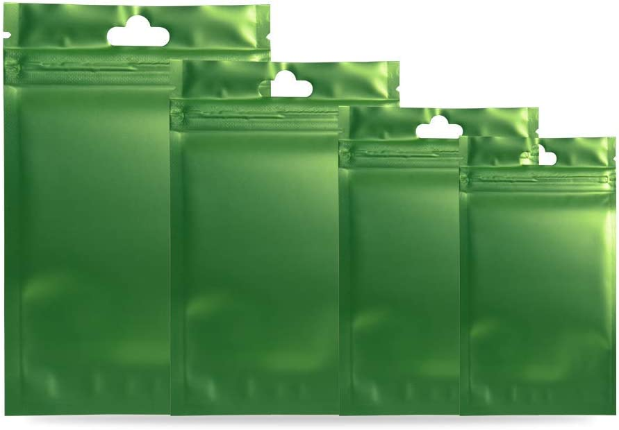 """100 Pcs Metallic Matte Plastic Ziplock Bags Clear Front Hang Hole Aluminum Foil Bags For Food Saver Long Term Food Storage Packaging Green 9x15cm (3.5x6"""") Thickness: 3 MIL"""