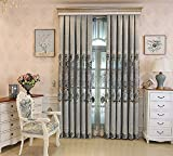 Cheap TIYANA Grey Luxury Curtain with Grommets for Bedroom 86 inch Long Extra Long Elegant Chenille Fabric Embroidered Curtains for Living Room, 1 Piece, 145×96 inch