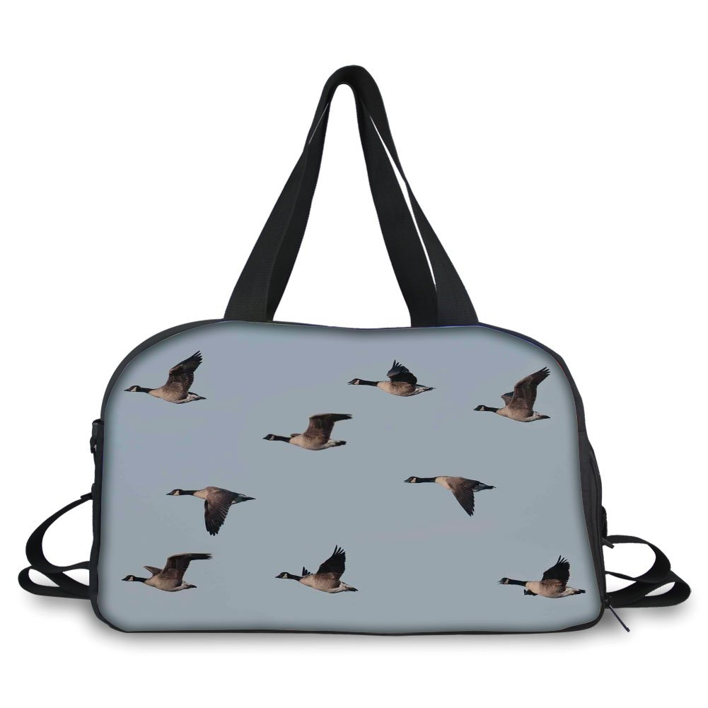 Travelling bag,Geese Decor,Canada Goose (Branta Canadensis) in Flight Clear Sky Traveling Feather Picture, ,Personalized