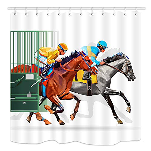 (KOTOM Horse Shower Curtain, Farm Competitive Scene with Three Racing Horses, Waterproof Fabric Bathroom Decor, Bath Curtains Accessories, with Hooks, 69X70 Inches)