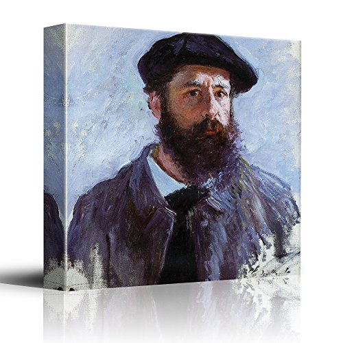 - wall26 - Self Portrait with a Beret,1886 by Claude Monet - Impressionist Modern Art - Canvas Art Home Decor - 24x24 inches