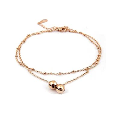 findout. high quality. 14K rose gold plated titanium steel smooth bead anklet (f1287) OK1jS1zL